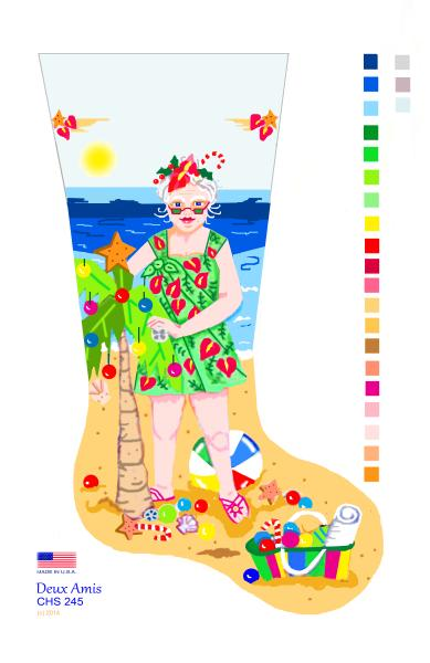 click here to view larger image of Mrs. Beach Santa - 13M (hand painted canvases)