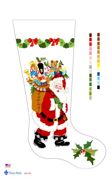 click here to view larger image of Santa & Bag of Toys - 13M (hand painted canvases)