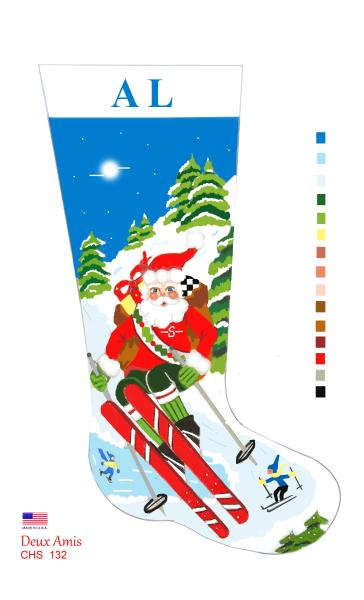click here to view larger image of Skiing Santa - 13M (hand painted canvases)