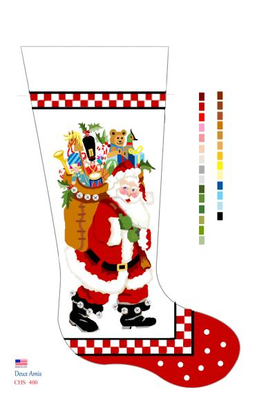 click here to view larger image of Checkerboard Board Santa - 18M (hand painted canvases)