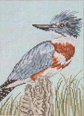 Belted Kingfisher - 13M - click here for more details about this hand painted canvases