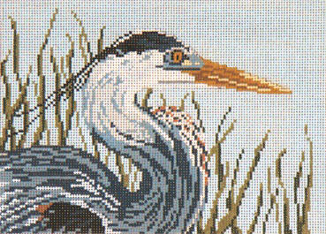 Great Blue Heron Head - 18M - click here for more details about this hand painted canvases