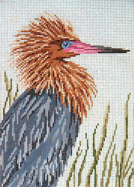 Reddish Egret  - 13M - click here for more details about this hand painted canvases