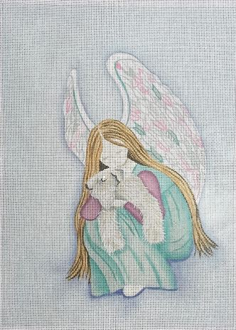 click here to view larger image of  Wheaten Terrier with Angel (hand painted canvases)