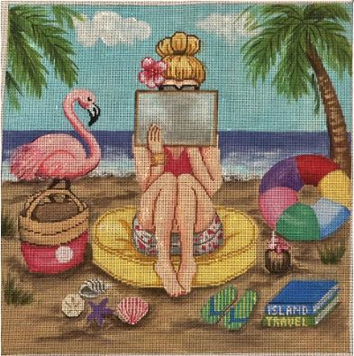 Girl Stitching - Beach hand painted canvases