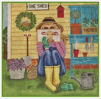 Stitching Girl - Gardening Girl hand painted canvases