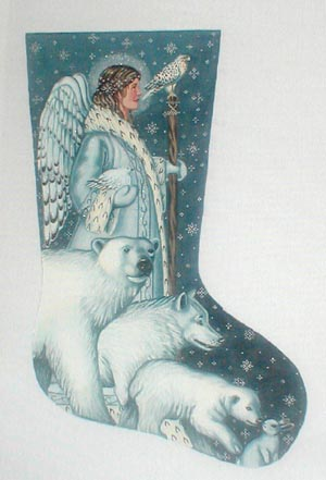 click here to view larger image of Arctic Angel Stocking (hand painted canvases)