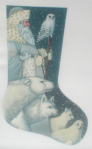 click here to view larger image of Arctic Santa Stocking (hand painted canvases)
