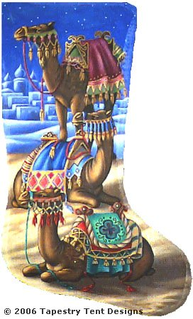 click here to view larger image of Camel Stocking (hand painted canvases)