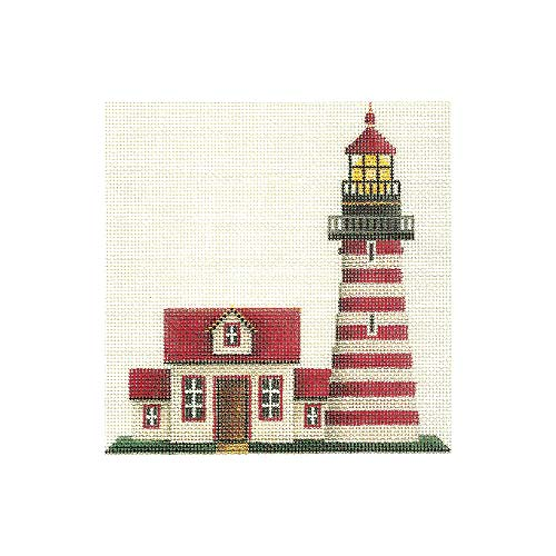 click here to view larger image of Banded Lighthouse (hand painted canvases)