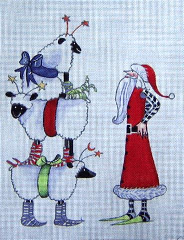 click here to view larger image of Christmas Sheep Stack (hand painted canvases)