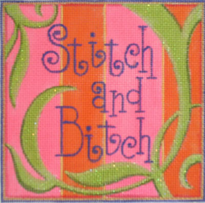 click here to view larger image of Stitch and Bitch (hand painted canvases)
