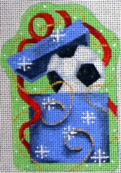 click here to view larger image of Soccer in Present Ornament (hand painted canvases)