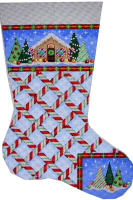 click here to view larger image of Gingerbread Cane Lg Stocking #2 (hand painted canvases)
