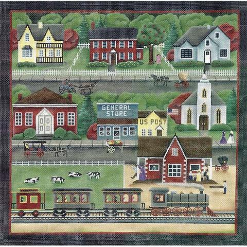 click here to view larger image of Train Station Village - 18ct (hand painted canvases)