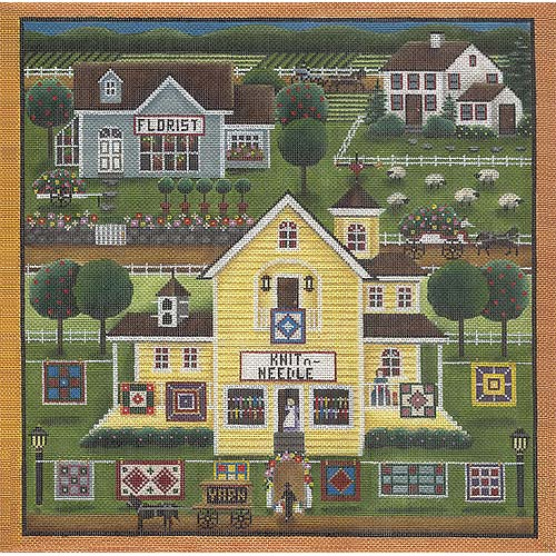 click here to view larger image of Stitchers Village - 18ct (hand painted canvases)