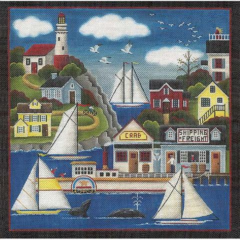 click here to view larger image of Lighthouse Harbor - 18ct (hand painted canvases)