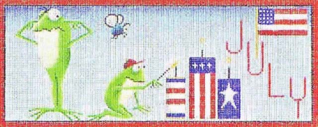 click here to view larger image of July Frogs (hand painted canvases)