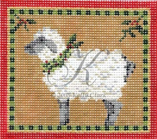 click here to view larger image of Christmas Sheep  - 18 mesh (hand painted canvases)