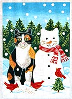click here to view larger image of Snow Cat (hand painted canvases)