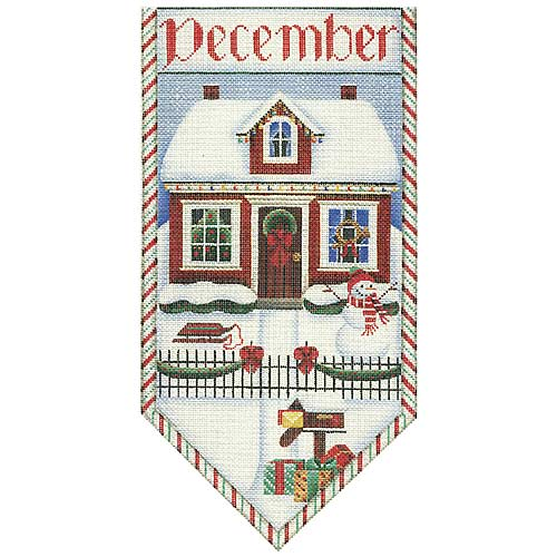 click here to view larger image of Christmas Cottage Banner (hand painted canvases)