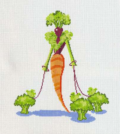 click here to view larger image of Carrot Lady With Broccoli Pups (hand painted canvases)
