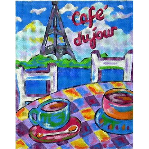 click here to view larger image of Cafe Du Jour (hand painted canvases)