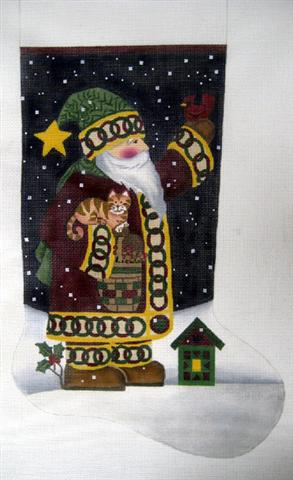 click here to view larger image of Homespun Santa Stocking (hand painted canvases)