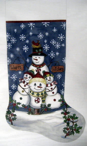 click here to view larger image of Holiday Hugs Stocking (hand painted canvases)