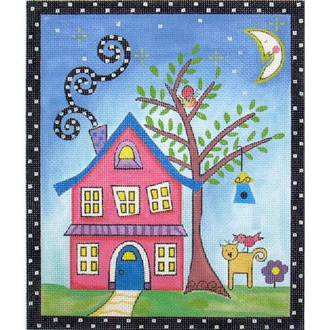 click here to view larger image of Pink House & Yard (hand painted canvases)