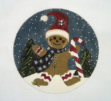 click here to view larger image of Gingerbread Man with Candy Cane (hand painted canvases)
