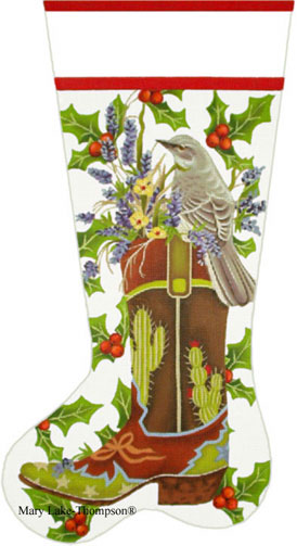 click here to view larger image of Mocking Bird Boot Stocking (hand painted canvases)