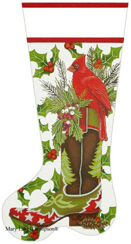 click here to view larger image of Cardinal Boot Stocking (hand painted canvases)