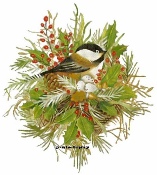 click here to view larger image of Chickadee Nest (hand painted canvases)