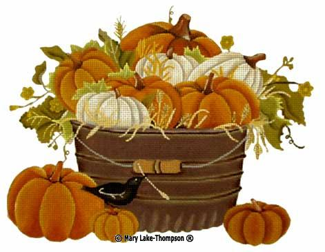 click here to view larger image of Pumpkin Basket (hand painted canvases)