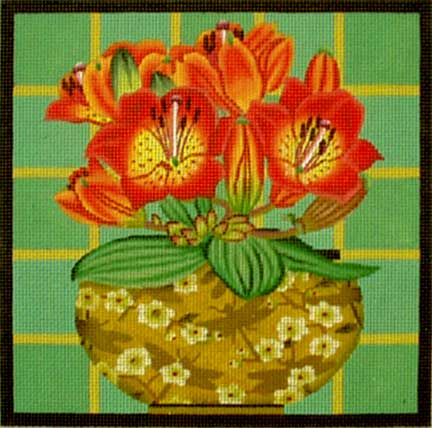 click here to view larger image of Floral Bouquet - Orange Lily Bouquet (hand painted canvases)