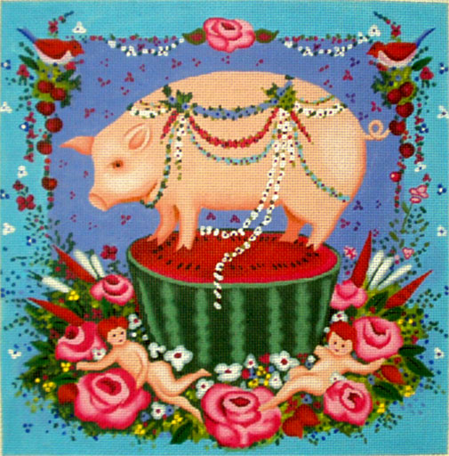 click here to view larger image of Pig on a Melon (hand painted canvases)