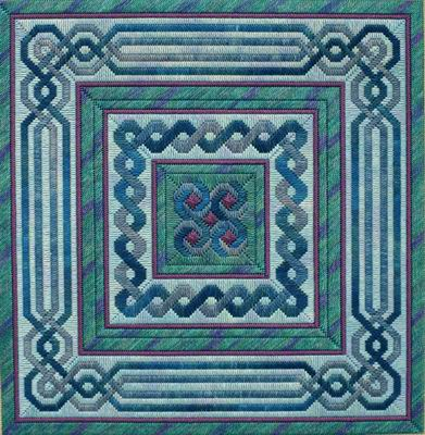 click here to view larger image of Lavenderblue Celtic Knot Quilt (counted canvas work)