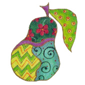 click here to view larger image of Whimsical Pear (hand painted canvases)