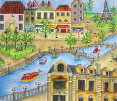 click here to view larger image of Along the Seine (hand painted canvases)