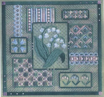 click here to view larger image of Lily of the Valley Collage (counted canvas work)