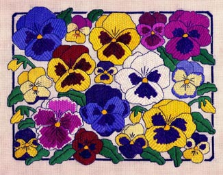 click here to view larger image of Pansies (counted canvas work)