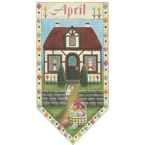 click here to view larger image of April  Cottage Banner (hand painted canvases)