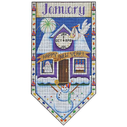 click here to view larger image of January Cottage Banner (hand painted canvases)