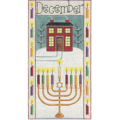 click here to view larger image of December/Chanukah Folk Banner (hand painted canvases)