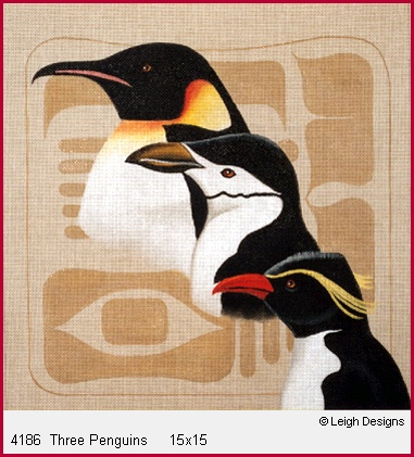 click here to view larger image of Three Penguins (hand painted canvases)