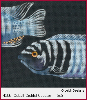 click here to view larger image of Cobalt Cichlid Coaster (hand painted canvases)
