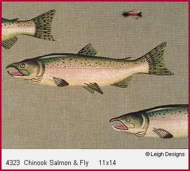 click here to view larger image of Chinook Salmon & Fly (hand painted canvases)