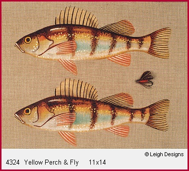 click here to view larger image of Yellow Perch & Fly (hand painted canvases)