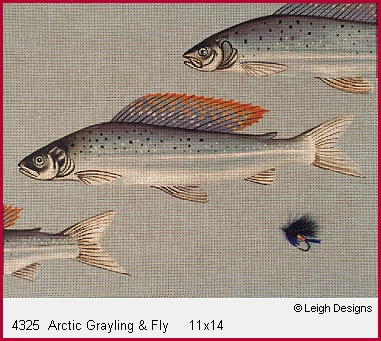 click here to view larger image of Arctic Grayling & Fly (hand painted canvases)
